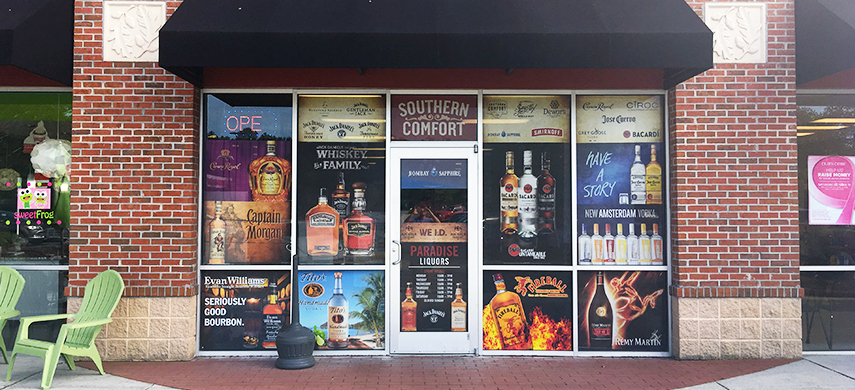 Paradise Liquors Storefront Window Graphics